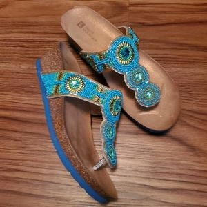 Blue Beaded Embellished Slip on Heeled Sandal